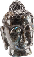 Asian:Chinese, A Chinese Carved Hardstone and Labradorite Buddha Head. 14 h x7-1/2 w x 6-1/2 d inches (35.6 x 19.1 x 16.5 cm). ...