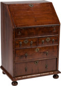 Furniture , A William and Mary-Style Mahogany Slant-Front Desk. 36 h x 24 w x 18 d inches (91.4 x 61.0 x 45.7 cm). ...