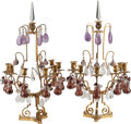 Decorative Arts, Continental, A Pair of Gilt Bronze, Amethyst, and Rock Crystal Seven-Light Girandoles. 30 h x 16 w x 13 d inches (76.2 x 40.6 x 33.0 cm)... (Total: 4 Items)