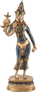 Asian, A Southeast Asian Carved Lapis Lazuli and Gilt Metal StandingDeity. 12 h x 6 w x 2 d inches (30.5 x 15.2 x 5.1 cm). ... (Total:2 Items)