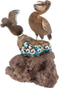 Asian:Chinese, A Chinese Enameled Silver Bird Group on Hardwood Stand. 7 h x 3 w x3 d inches (17.8 x 7.6 x 7.6 cm) (overall). ...