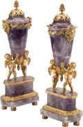 Decorative Arts, Continental:Other , A Pair of Directoire-Style Amethyst and Gilt Bronze Figural CoveredUrns. 19 h x 7-1/2 w x 4-1/2 d inches (48.3 x 19.1 x 11.... (Total:4 Items)