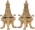 Decorative Arts, French, A Pair of Louis XVI-Style Gilt Bronze Chenets. 21 h x 10 w x 7 dinches (53.3 x 25.4 x 17.8 cm). ... (Total: 2 Items)