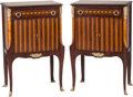 Furniture , A Pair of French-Inspired Inlaid Side Cabinets. 33 h x 21 w x 13-1/2 d inches (83.8 x 53.3 x 34.3 cm). ... (Total: 2 Items)