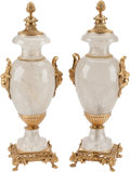 Other, A Tall Pair of Louis XVI-Style Rock Crystal and Gilt Bronze Urns. 22 h x 9 w x 9 d inches (55.9 x 22.9 x 22.9 cm). ... (Total: 2 Items)