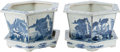 Asian:Chinese, A Pair of Chinese Blue and White Porcelain Planters withUnderplates. 10 h x 14 w x 14 d inches (25.4 x 35.6 x 35.6 cm)(ove... (Total: 4 Items)
