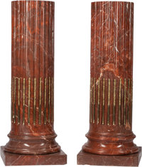 A Pair of Louis XVI-Style Neoclassical Gilt Bronze and Rouge Marble Column Pedestals 44 h x 17 w x 17 d inches (11