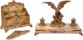 Decorative Arts, French, A Three-Piece French Gilt Bronze and Sienna Marble Desk Set withEagle Motif. Marks: A. Marionnet. 10 h x 14 w x 2 d inc...(Total: 3 Items)