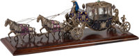 A Continental Enameled Silver and Hardstone-Mounted Carriage Model 8 h x 23 w x 5-1/2 d inches (20.3 x 58.4 x 14.0