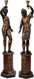 Decorative Arts, Continental, A Tall Pair of Venetian-Style Blackamoors on Integrated Pedestals.81 h x 17 w x 17 d inches (205.7 x 43.2 x 43.2 c...