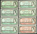 Canadian Currency, BC-37b $1 1954;. BC-37b-i $1 1954;. BC-37d $1 1954, ThreeExamples;. BC-38c $2 1954, Nine Examples;. BC-45a $1... (Total: 15notes)