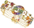 Estate Jewelry:Bracelets, Multi-Stone, Diamond, Gold Bracelet, Bellarri. ...