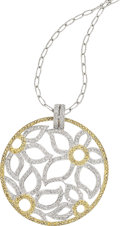 Estate Jewelry:Pendants and Lockets, Diamond, Yellow Sapphire, White Gold Pendant-Necklace, Eli Frei....