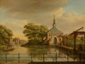 Paintings, Paulus Constantjin La Fargúe (Dutch, 1729-1782). View of the Zijlpoort, Leiden; View of the Witte Poort, Leiden, 1773 (a p... (Total: 2 Items)