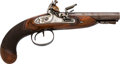 Handguns:Muzzle loading, European Double Barrel Flintlock Pistol by Clive....