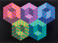 Victor Vasarely (1906-1997) Hexa 5, from Official Arts Portfolio of the XXIVth Olympiad, Seoul, Kore