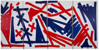 RETNA (American, b. 1979) Untitled, polyptych, 2016 Acrylic on panel, each 8 x 16 feet (243.8 x 4