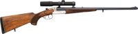 Engraved German Friedrich Wilh Heym Double Rifle with Telescopic Sight