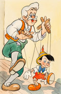 Animation Art:Production Drawing, Pinocchio Geppetto and Pinocchio Stamp Illustration (Walt Disney, 1940). ...