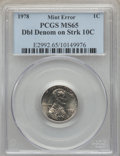 Errors, 1978 1C Lincoln Cent -- Double Denomination on Struck Dime -- MS65 PCGS....