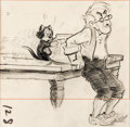 Animation Art:Production Drawing, Pinocchio Geppetto and Figaro Storyboard Drawing (WaltDisney, 1940)....