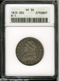 Bust Quarters: , 1815 25C VF30 ANACS. B-1, R.1. Light gray patina overlays each side. Nicely defined, with relatively clean surfaces. The de...