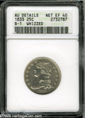 Bust Quarters: , 1833 25C--Whizzed--ANACS. AU Details, Net XF40. B-1, R.2. Grainy and unnaturally bright from whizzing, this bold example is...