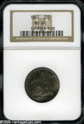 Seated Quarters: , 1845 25C MS61 NGC. Readily available in circulated grades, the 1845Seated quarter is an unsung rarity in Mint State. This ...