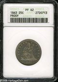 Proof Seated Quarters: , 1863 25C PR62 ANACS. Sharp with fairly good remaining mirrored surfaces. Some scuffiness and number of small marks and hair...