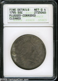 Early Half Dollars: , 1795/1795 50C 2 Leaves--Plugged, Corroded, Cleaned--ANACS. FineDetails, Net Good 4. O-112, R.4. A relatively large hole ne...