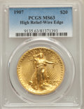 High Relief Double Eagles, 1907 $20 High Relief, Wire Rim MS63 PCGS. PCGS Population: (976/1468). NGC Census: (400/663). MS63. Mintage 12,367. ...
