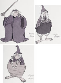 Milt Kahl The Black Cauldron Witches of Morva Character Design Concept Drawings Group of 3 (Walt Disney, 1985). ... (Tot...
