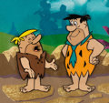 Animation Art:Production Cel, The Flintstones Fred and Barney Production Cel Setup andPainted Background (Hanna-Barbera, c. 1960s)....