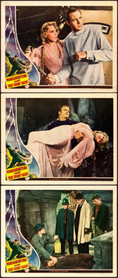 "Frankenstein Meets the Wolf Man (Universal, 1943). Lobby Cards (3) (11"" X 14"") Karl Godwin Artwork. ... (Total..."