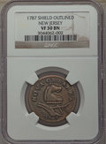 1787 COPPER New Jersey Copper, Outlined Shield VF30 NGC. NGC Census: (6/33). PCGS Population: (46/159)....(PCGS# 503)