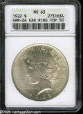 Peace Dollars: , 1922 S$1 MS63 ANACS. VAM-2A, R.6. A Top 50 Variety. Five stardesirability rating. A heavy die break extends just to the ri...