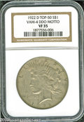 Peace Dollars: , 1922-D S$1 VF35 NGC. VAM-4, R.5. A Top 50 Variety. Four stardesirability rating. A Doubled Die Obverse variety, the TR in ...