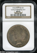 Peace Dollars: , 1925 S$1 MS64 NGC. VAM-5, R.6. A Top 50 Variety. Four stardesirability rating. This die pair received heavy clash marks, a...