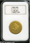 Liberty Eagles: , 1840 $10 XF40 NGC. A crisply struck peach-gold example of thisearly and better date No Motto Ten. A minor rim ding is on t...