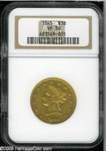 Liberty Eagles: , 1845 $10 VF30 NGC. Unmarked for the grade, this low mintagestraw-gold Liberty Ten has noticeable hints of remaining luster...