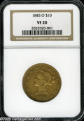 Liberty Eagles: , 1845-O $10 VF20 NGC. A circulated chestnut-gold representative. Notunduly marked, and the wings possess ample detail. Trac...