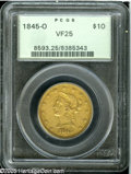 Liberty Eagles: , 1845-O $10 VF25 PCGS. Orange and olive-gray colors embrace thisattractively detailed older holder example. The 84 in the d...