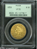 Liberty Eagles: , 1859 $10 VF35 PCGS. Lustrous for the grade, this originalapricot-gold piece displays light highpoint wear and has a goods...