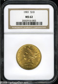 Liberty Eagles: , 1901 $10 MS62 NGC. Brass-gold patina overlays lustrous surfacesthat exhibit adequately struck design elements. Several sma...