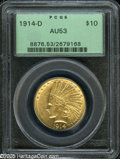 Indian Eagles: , 1914-D $10 AU53 PCGS. Brassy-gold surfaces display traces of lusterin the protected areas. The design features are well st...