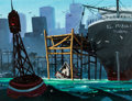 Animation Art:Concept Art, Oliver and Company Background Concept Painting (Walt Disney,1998)....