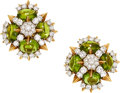 Estate Jewelry:Earrings, Diamond, Peridot, Platinum, Gold Earrings, Tiffany & Co.. ...