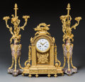 Clocks & Mechanical:Other, A Three-Piece Louis XVI-Style Gilt Bronze and Marble Clock Garniture, late 19th century. Marks to face: Emile Vie & Cie, P... (Total: 4 Items)
