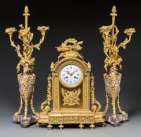 A Three-Piece Louis XVI-Style Gilt Bronze and Marble Clock Garniture, late 19th century Marks to face: Emile Vi