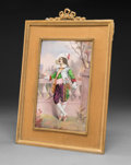 Decorative Arts, Continental, A Framed French Limoges Enameled Copper Plaque: YoungCavalier, circa 1900. Marks: F. BOULAY. 9-7/8 inchesh...
